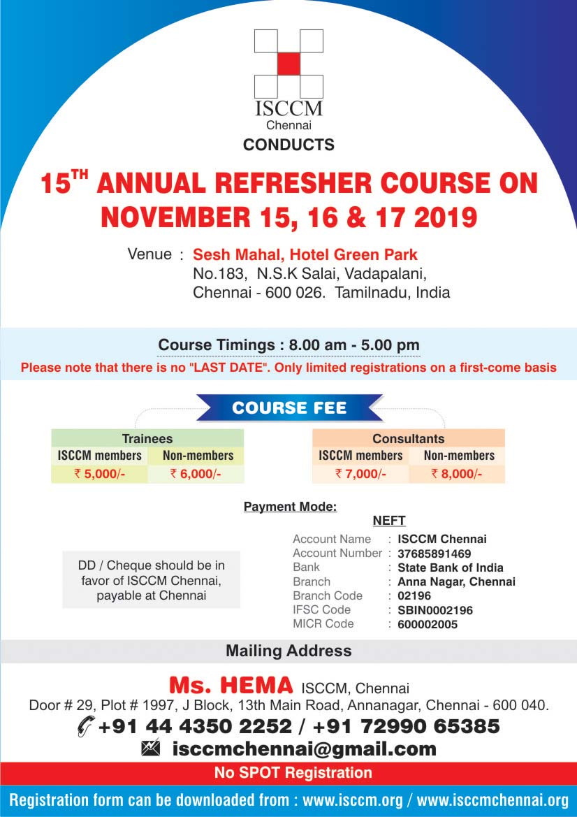 15th Annual Refresher Course, November 15,16,17th 2019